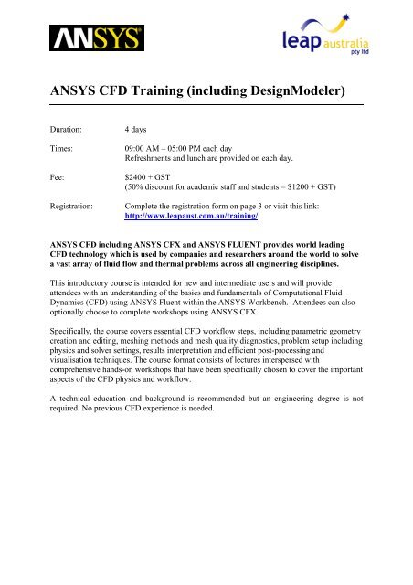ANSYS CFD Training (including DesignModeler) - Leaps
