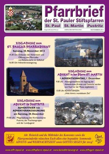 Zum Pfarrblatt November 2013 - Stiftspfarre St. Paul