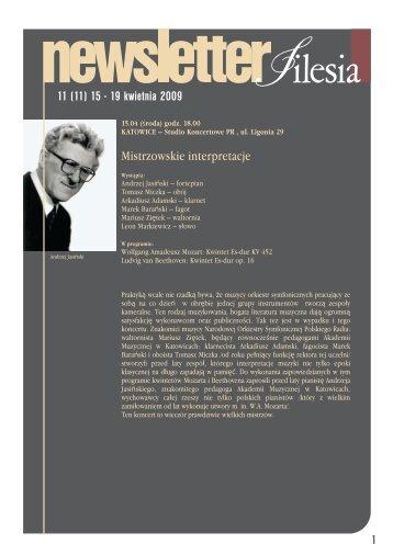 Mistrzowskie interpretacje 11 (11) 15 - 19 kwietnia 2009 1 - Silesia