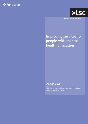 Improving services for people with mental health difficulties