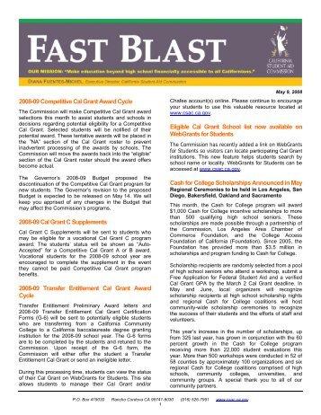 May 09, 2008 CSAC Fast Blast - CSAC California Student Aid ...