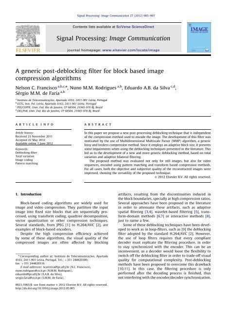 A generic post-deblocking filter for block based image