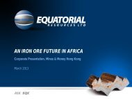 Corporate Presentation, Mines & Money Hong Kong - Equatorial ...
