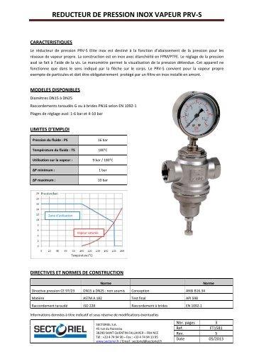 reducteur de pression inox vapeur prv-s - Saga