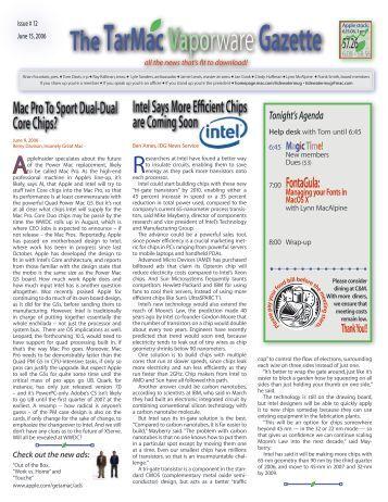 June 15, 2006 - Tidewater Area Macintosh Users Group