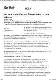 Mit dem Anhäufen von Überstunden ist nun Schluss - Bern ... - BSPV
