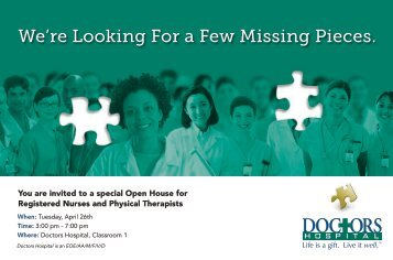 We're Looking For a Few Missing Pieces. - Doctors Hospital