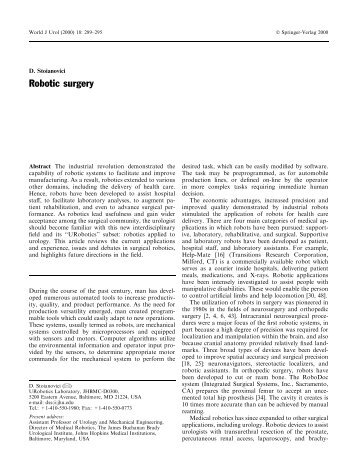 Robotic surgery - URobotics - Urology Robotics at Johns Hopkins