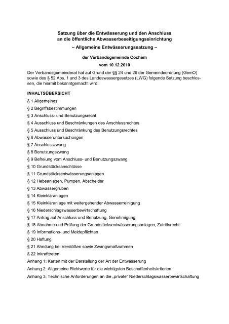 Allgemeine Entwässerungssatzung - Verbandsgemeinde Cochem