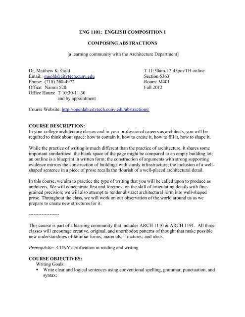 ENGL-1101-5363-Eng-Comp-1-Gold Syllabus (PDF) - City Tech