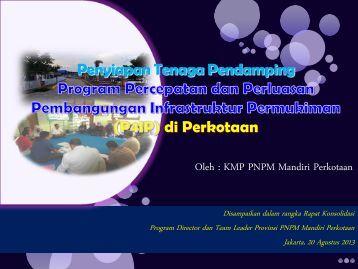 Penyiapan Tenaga Pendamping P4IP 2013 oleh KMP - P2KP