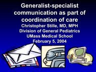 Generalist-specialist communication as part of coordination of care