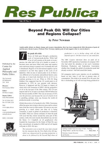 Beyond Peak Oil - CAPPE. Centre For Applied Philosophy and ...