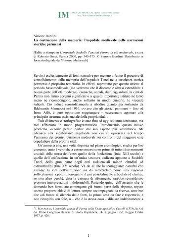 1 Simone Bordini La costruzione della memoria ... - Itinerari Medievali