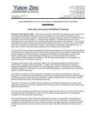 Yukon Zinc Announces C$5 Million Financing
