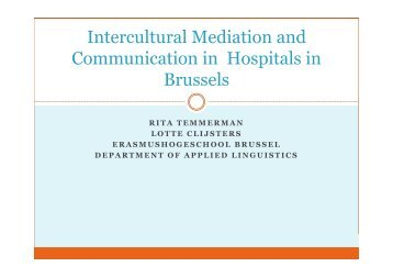 Intercultural Mediation and Communication in Hospitals ... - e-SPICES