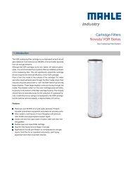 Data Sheet VGR Coalescing - MAHLE Industry - Filtration