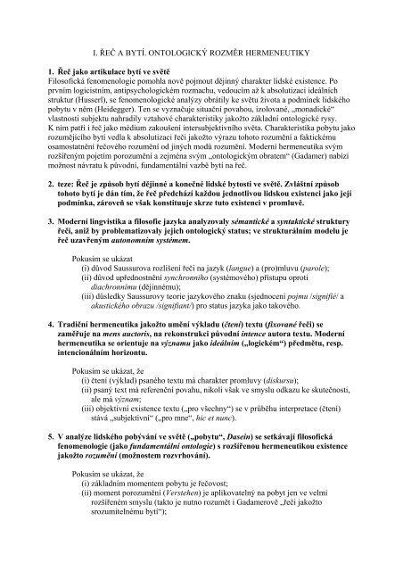 Ukázky tezí podávaných ke zkoušce z filosofie v rámci doktorského ...