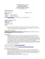 SOCIOLOGY 2013 – Spring 2007 - University of Arkansas