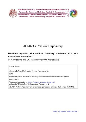 Download (439Kb) - ACMAC's PrePrint Repository