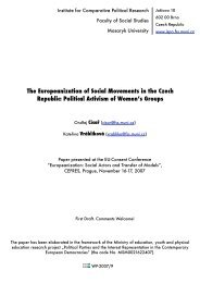 The Europeanization of Social Movements in the Czech Republic ...