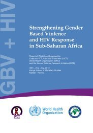 Strengthening Gender Based Violence and HIV Response in Sub ...