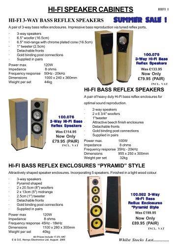 HI-FI SPEAKER CABINETS SUMMER SALE ! - Henry's Electronics