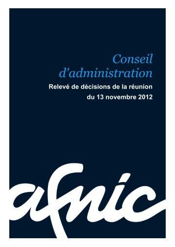 Conseil d'administration du 13/11/2012 - Afnic