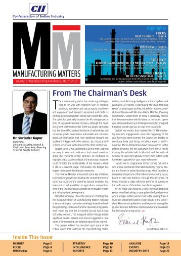 Journal of Manufacturing Excellence, March 2010 - CII