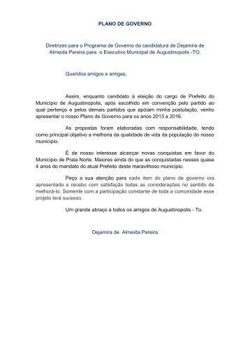 PLANO DE GOVERNO Diretrizes para o Programa ... - Folha do Bico