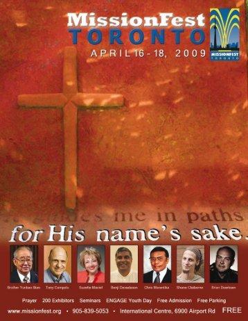 MISSIONFEST TORONTO • 2009 1