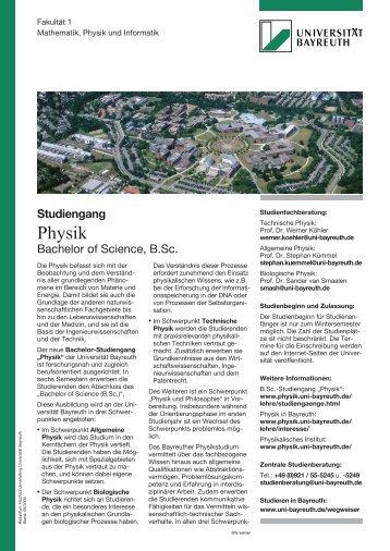 Physik - Theoretische Physik I - Universität Bayreuth