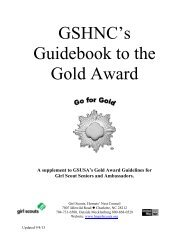 Gold Award GSHNC Supplemental Guidebook - the Girl Scouts ...