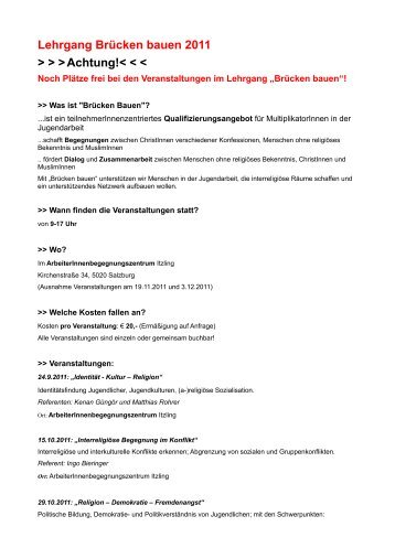 Lehrgang Brücken bauen 2011 > > >Achtung!< < < - Plattform für ...