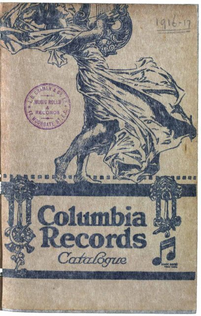 Columbia Records Catalogue 1916-17 - British Library - Sounds