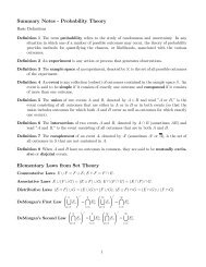 Summary Notes - Probability Theory Elementary Laws from Set Theory