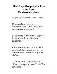 Modèles philosophiques de la conscience Dualisme cartésien