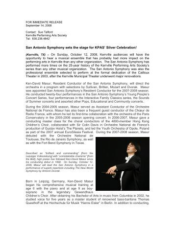 San Antonio Symphony sets the stage for KPAS - Kerrville ...