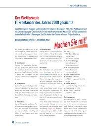 Der Wettbewerb IT Freelancer des Jahres 2008 gesucht!