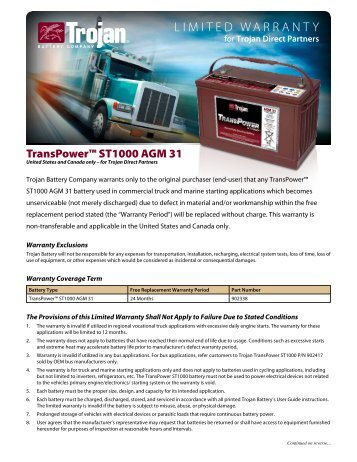 Hydrolink wateri limited warranty trojan battery company sciox Gallery