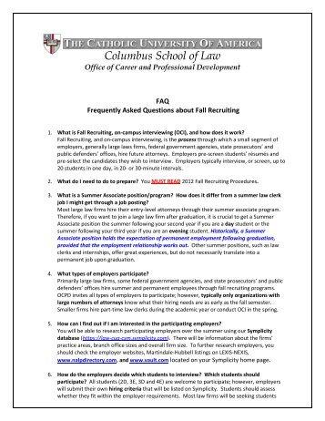 FAQ - Columbus School of Law