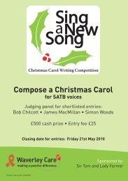 Compose a Christmas Carol for SATB voices - Waverley Care