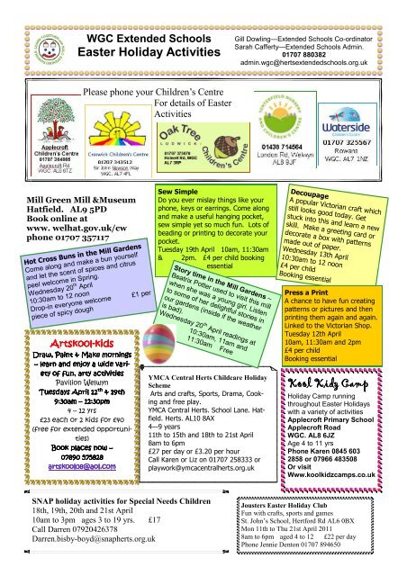easter holiday activities - Hertfordshire Extended Schools