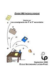 GUIDE MÉTHODOLOGIQUE - Commission scolaire de Montréal