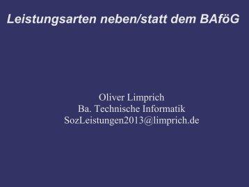 """""""Leistungen neben / statt BAföG"""" von Oliver Limprich - PDF"""