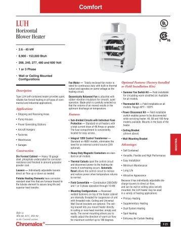 luh catalog page chromalox precision heat and control?quality=85 horizontal unit heater chromalox precision heat and control chromalox luh wiring diagram at gsmportal.co
