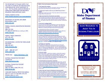 Brochure: Idaho Resources to Assist You in Avoiding Foreclosure