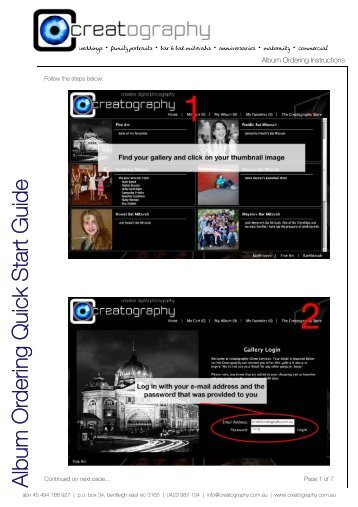 Album Ordering Quick Start Guide.pdf - Creatography