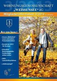 Mitgliederinformation 3/2013 - Wohnungsgenossenschaft ...