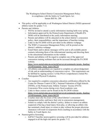 concussion management policy in the school Concussion management:  • develop a school concussion plan and management policy • identify personnel to act as a concussion care advocate to help.